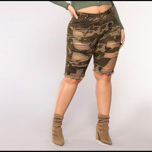 Plus Size Distressed Camouflaged Shorts